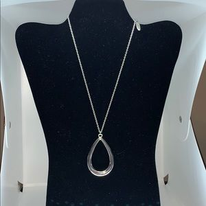 New York and Company silver teardrop necklace